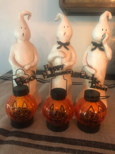 Primitive Halloween Ghosts Set of 3 Collectible