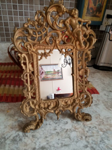 "Antique Cast Metal Ornate  Mirror–Victorian  Cherub 8 X 12"" Easel #540"