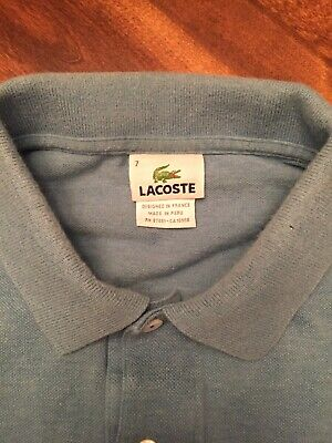 LACOSTE Polo Long Sleeve Light Blue Shirt ~ Men's 7 ~ NICE!!!