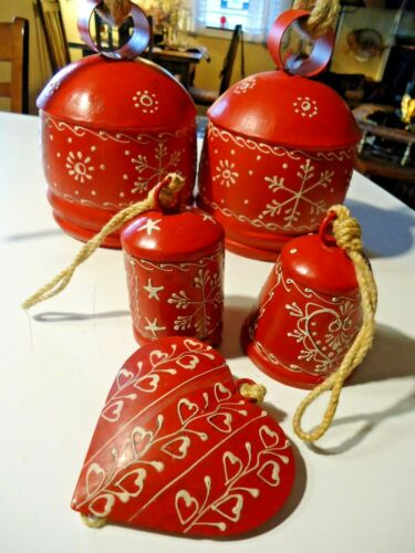 Sundance Catalog Christmas Hanging Metal Rope Red Painted Bells Set of 5