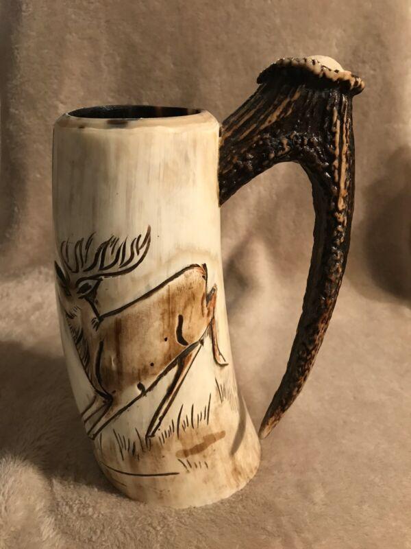 Elk Antler Tusk Handcarved Beer Stein/Mug