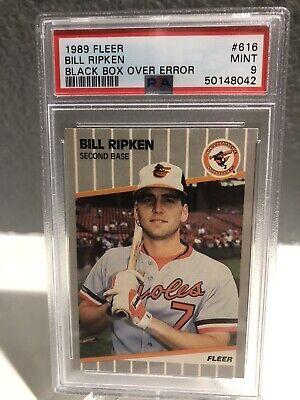1989 Fleer #616 Billy Ripken Black Box Over FF Error PSA 9 Baltimore Orioles