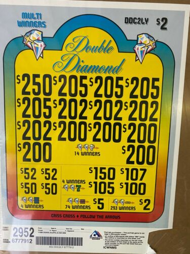 "$2 ""Double Diamond"" 3 Window Pull Tab 2952 Tickets Profit $1404 Free Ship USA 48"