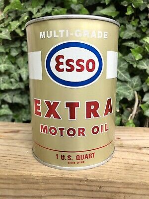 Vintage Metal Esso Extra Humble Oil Houston Texas Quart Motor Oil Can Full Clean