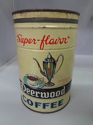 VINTAGE  DEERWOOD BRAND COFFEE TIN ADVERTISING COLLECTIBLE  CAN  700-X