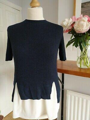 Joseph Silk Top Merino Wool Jumper Overlay 2 Piece M Bnwt New navy blue white