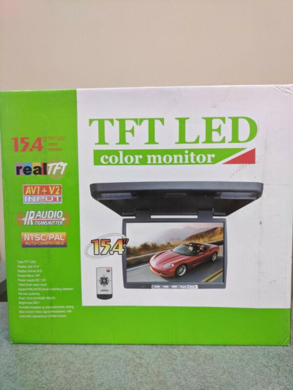 "15.4"" TFT LED Color Flip Down Monitor w/ Remote"