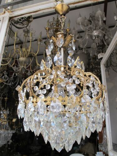 Antique Vnt French Cage Style Crystal Chandelier Lamp Lustre 1940