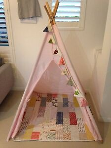 Light pink cotton canvas wood pole teepee tee pee cubby Carindale Brisbane South East Preview