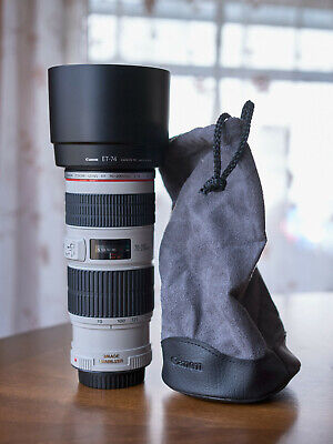 Really Nice, Ex++ Canon EF 70-200mm f4 IS USM Lens with Hood, Caps, and Pouch