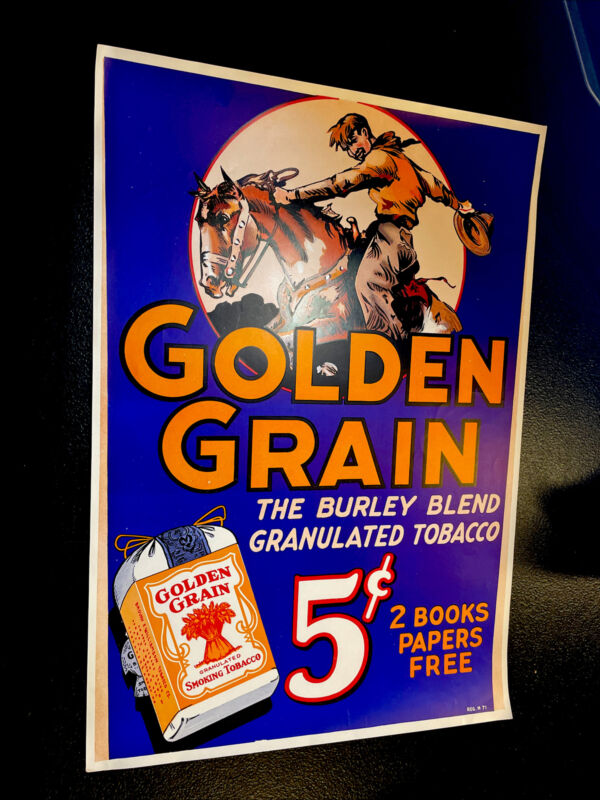 ORIGINAL 1930's NOS Golden Grain 15 Cent Cowboy Tobacco Advertising Sign Poster