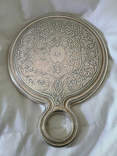 Antique Tiffany Sterling Silver Persian Pattern Loop Handle Mirror w/Mono