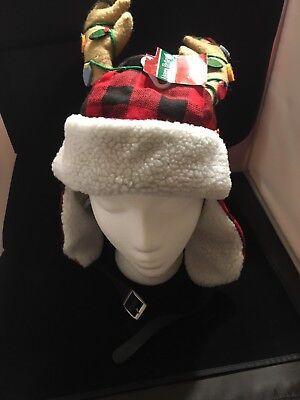 Santa Reindeer Red Black and White Hat