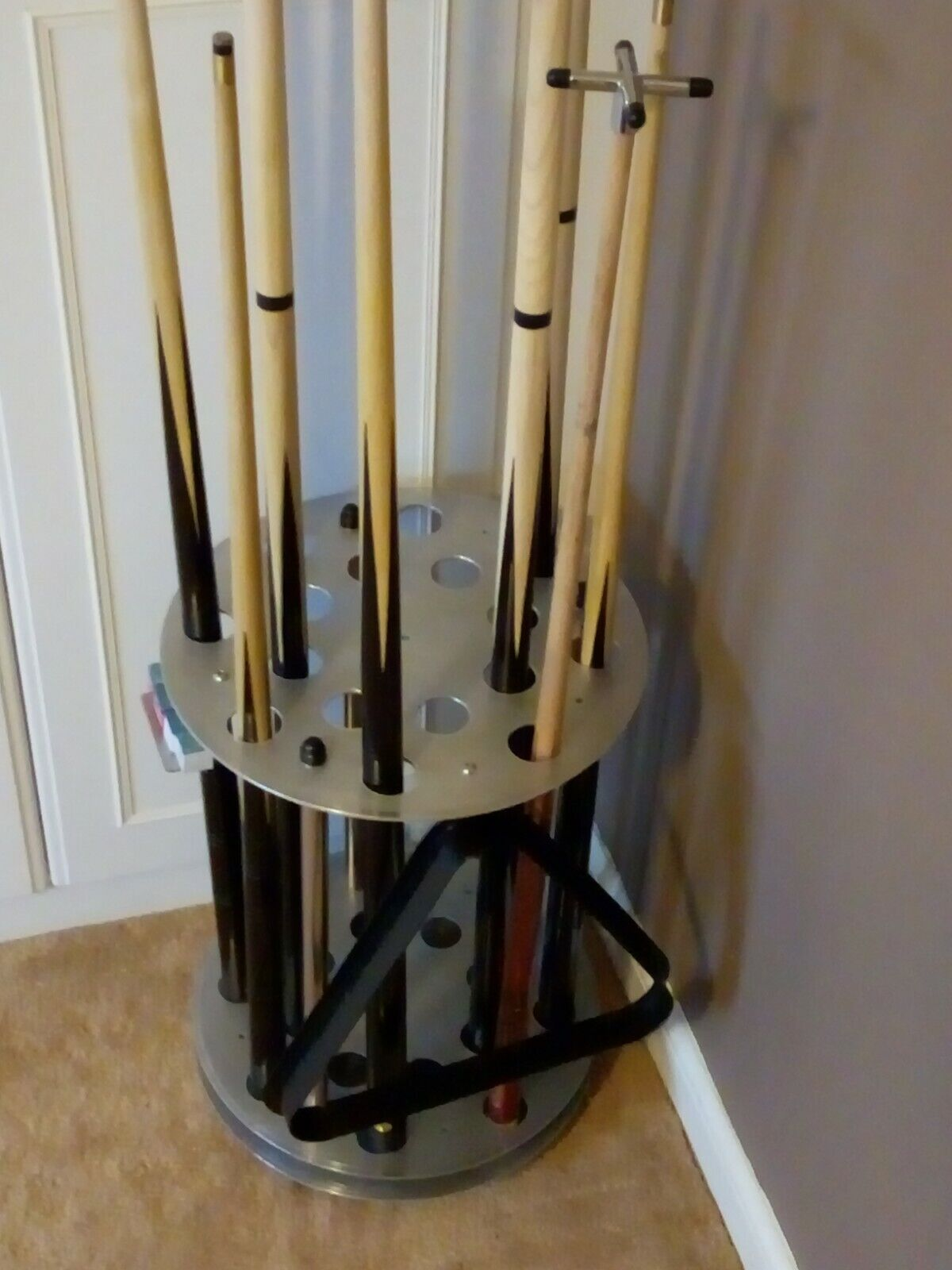 Custom Pool Cue Rack - Free Standing Rack For 16 Cues and Bridges, etc.