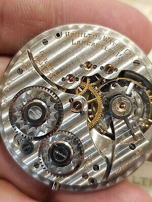 Antique 1923 Hamilton 914 Pocket Watch, 12s, 17j, Adj, RUNS! Ruby Saphire Gold