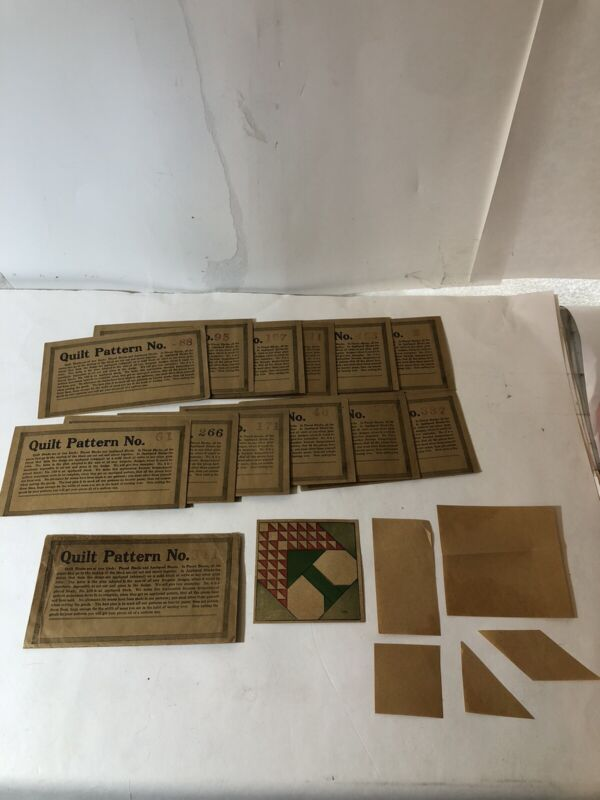 Vtg Rare 1920s/1930s Lot Of 13 Quilt Block Patterns 1D