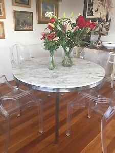 DINING TABLE, ROUND MARBLE w/Marine grade stainless steel base Bondi Eastern Suburbs Preview