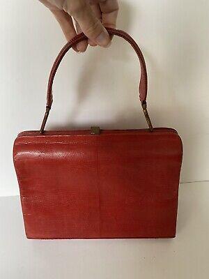 1950s Handbags, Purses, and Evening Bag Styles Vintage 'Hollywood Bags' Genuine Lizard Skin Handbag Red Top Handle 1950s VTG $74.14 AT vintagedancer.com