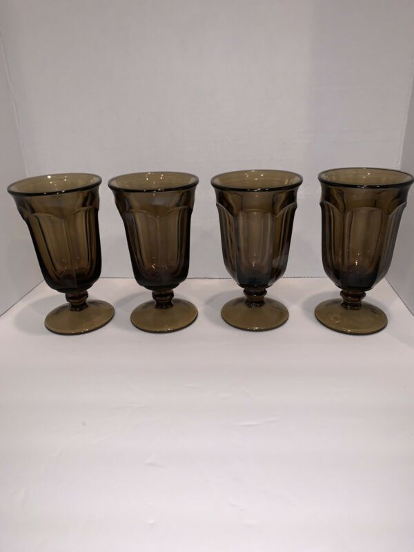 4 Vintage Imperial Glass Old Williamsburg Brown / Smoke Iced Tea Goblets 6 5/8""