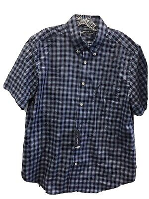Mens Nautica Blue Plaid Button Up Short Sleeve Shirt L size Large NWT $59.50
