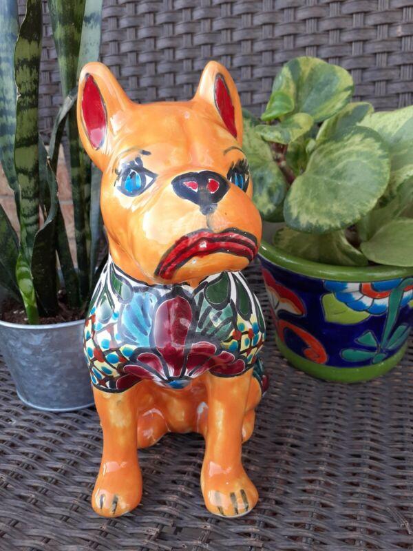 Mexican Talavera Yard Art Pottery Sitting Dog Bulldog
