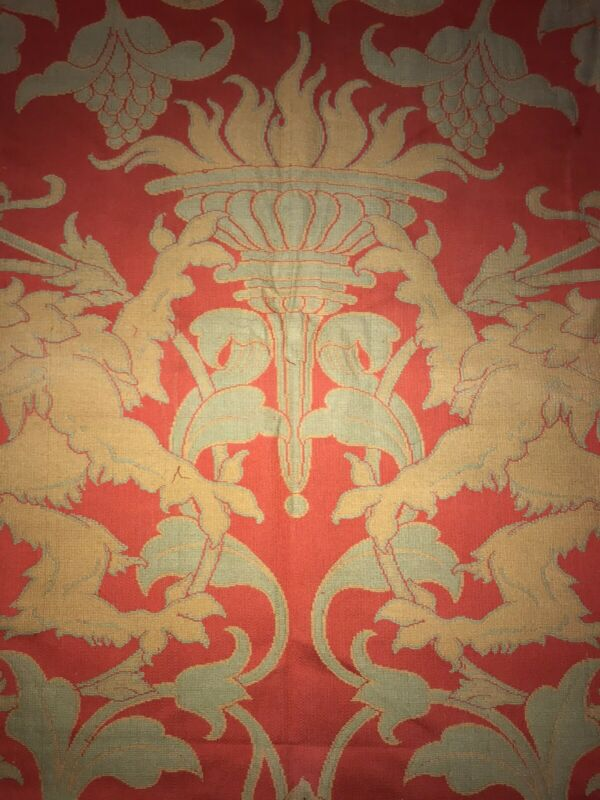 Antique William Morris Style Wool Fabric Textile w/ Provenance