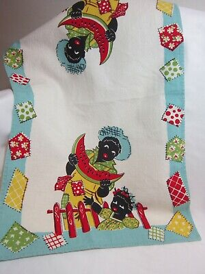 Vintage 1940's Americana Kitchen Towel,  Kids with watermelon by J.S.&S.