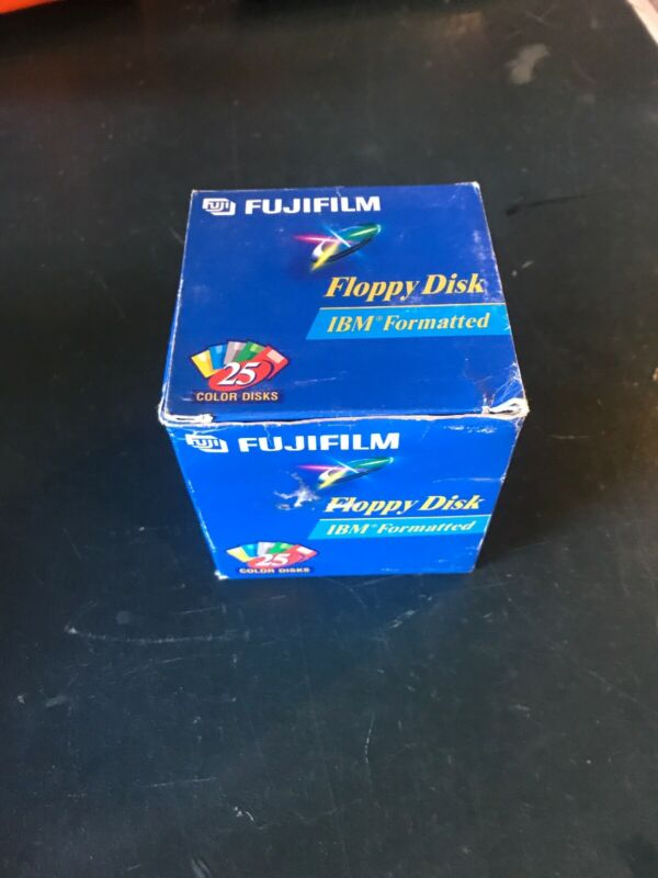"Fujifilm 3.5"" Floppy Disk IBM Formatted 1.44 MB BOX OF 26 Color Disk Open Box"