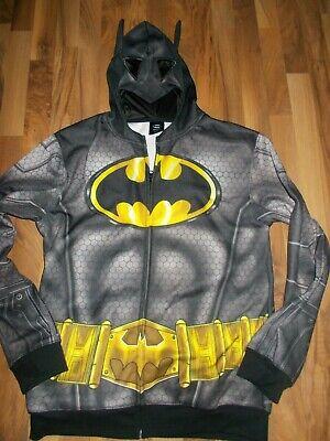Batman Hoodie Mask (Batman Full Zip Hoodie Sweatshirt with Mask Men's Large Great for Birthday)