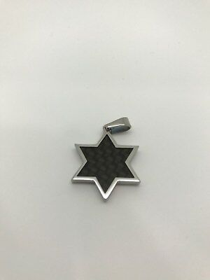 Stainless Steel Star of David Pendant with Black Color Fiber Interior
