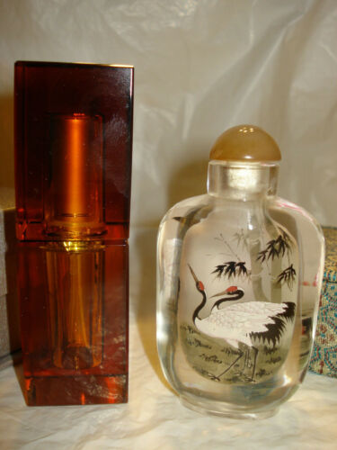 Chinese Glass Reverse Painted Snuff Bottle Cranes and Amber glas perfume bottle