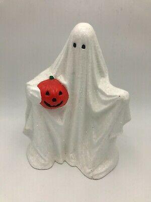 "Vintage Halloween Handmade Ceramic Sheet Ghost Holding Pumpkin 9"" Tealight"
