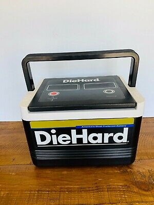 Vtg 90s IGLOO DIE HARD Battery Cooler Lunchbox Ice Chest Mechanics 6 Pack CLEAN