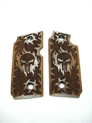 Punisher Walnut Grips For Sig Sauer P238 Checkered Engraved Textured for sale  Joplin