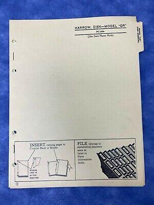John Deere Parts Catalog For Gr Disk Harrow Pc349