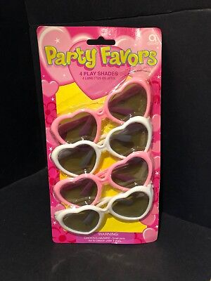 4 Party Favor Heart Sunglasses Play Shades NEW - Party Favor Sunglasses