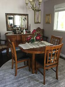 Dining table chairs & server