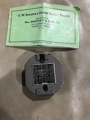 Vintage 1951 D.w. Bruntons Pocket Transit Compass Ainsworth Sons With Manual
