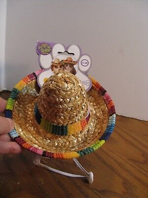 Hat for Dogs - Rubie's Pet Shop- S/M Straw Sombrero Hat/ Multi-Color Trim  - Dog](Dog Sombrero)