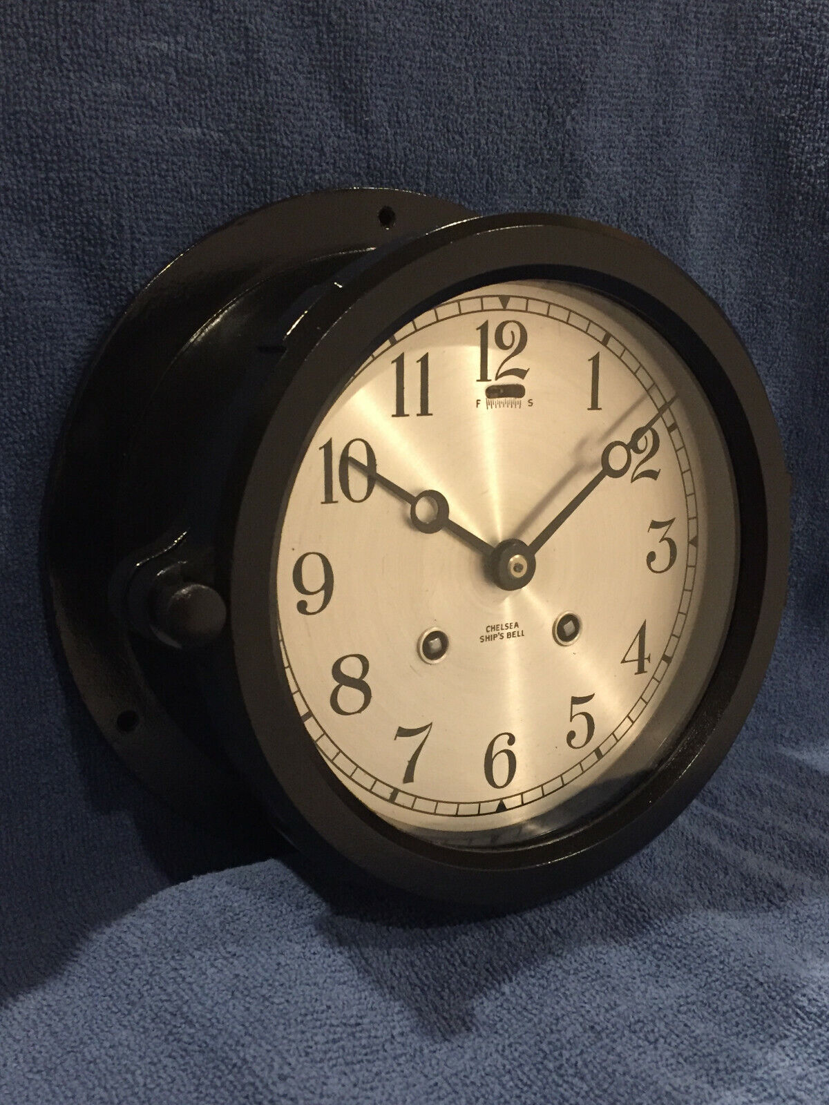 """**FULLY RESTORED** WWII 1944 Chelsea Ships Bell Clock 6"""" Dial"""
