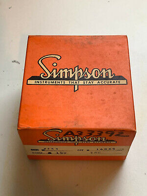 Simpson Panel Meter 3343 A.c.volts 0-150 Vintage Antique