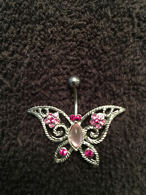 Butterfly Belly Button Ring Sterling Silver with Pink Stones - New Butterfly Silver Belly Button Ring