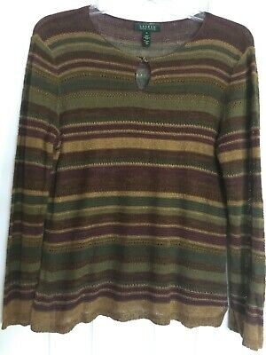 LAUREN Ralph XL Earthy Linen-Silk Serape Stripe Indian Blanket Pullover - Earthy Stripes
