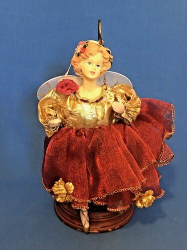 Porcelain Ballerina Doll Christmas Ornament - Gift ~ Gold and Red Dress w/tag(c)