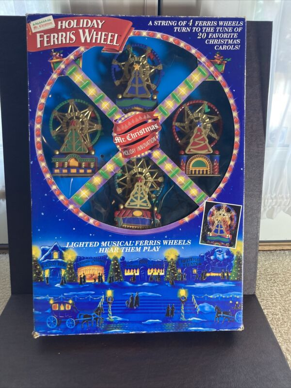 MR CHRISTMAS Holiday Lighted FERRIS WHEEL 4 Small Lighted Animated with Music