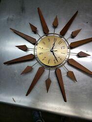 Wall Clock Mid Century Vintage Sunburst  Starburst Retro  Battery Powered 20 In