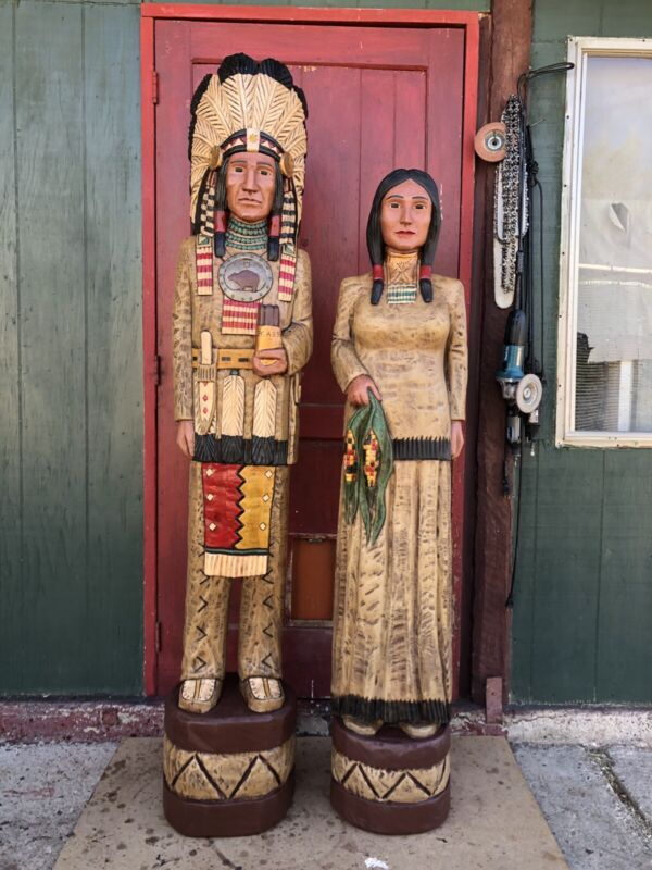 John Gallagher Carved Wooden Cigar Store Indian & Corn Maiden Couple Statues