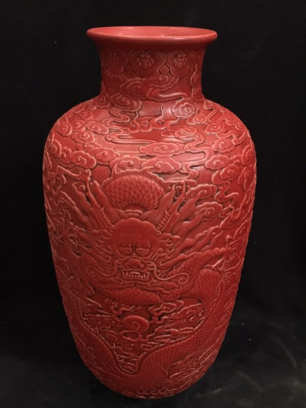 Qing dynasty: Red dragon vase  Qianlong seal chinese antique H 35cm