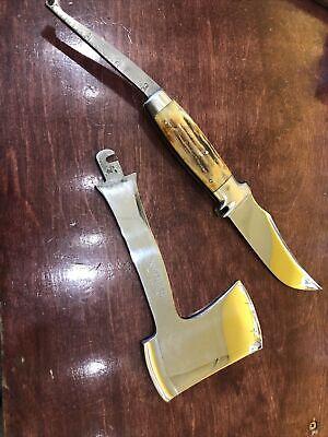 Case XX Stag Handle Hatchet / Knife Interchange Set W/ Original Leather Sheath