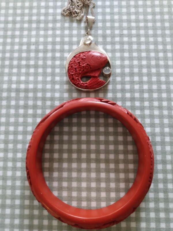 Vintage Cinnabar Sajen Carved Koi Fish Sterling Silver Necklace and Bracelet
